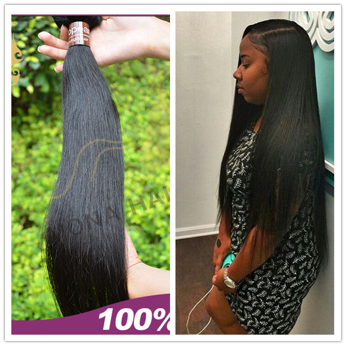 Guangzhou mona hair wholesale natural black remy straight cuticle 100% european hair sew in weave hair extension