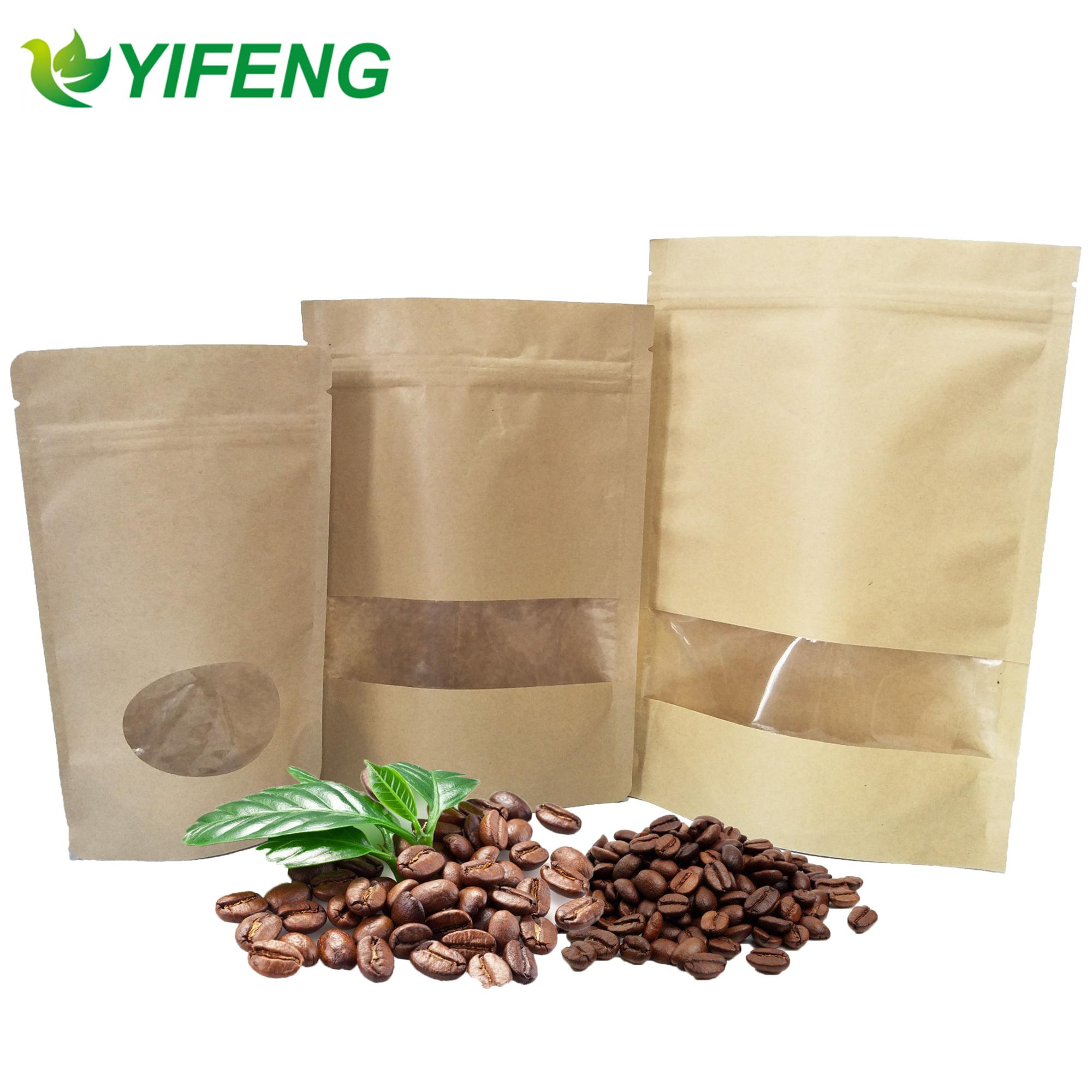 Fancy Design Printed Flour Foil Lined With Zipper Cmyk Printing Brown Kraft Paper Bag Snack Window