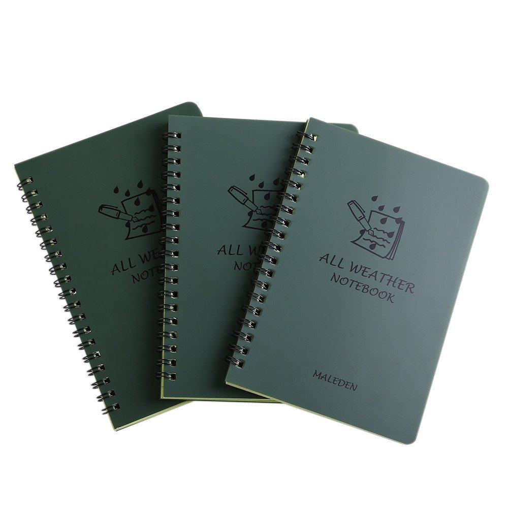 All Weather Spiral Notebooks, MALEDEN Waterproof Steno Notepad Memo Scratch Pads for Outdoor Activities Recording and Tactical Pocket (3PCS)