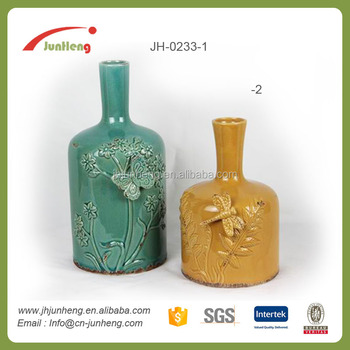 Ceramic Glazed Insect Embossed Ceramic Italian Vaseswholesale Vases