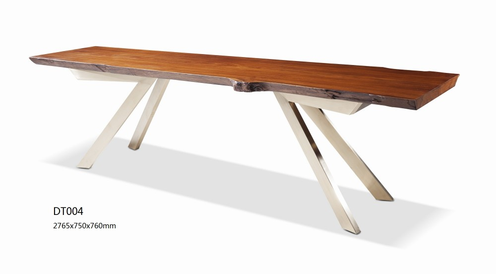 New Model Live Edge Wooden Dining Table Modern Design Stainless Steel Table  Base