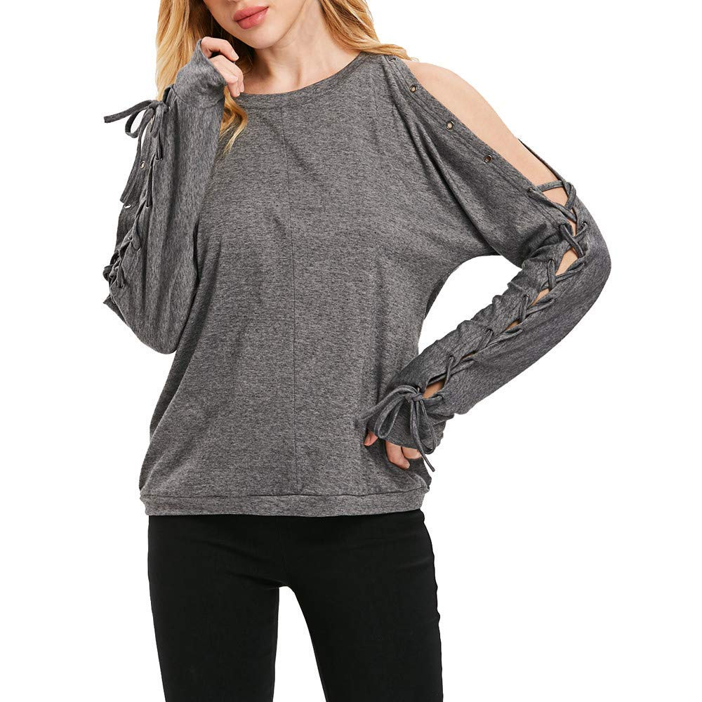 Womens Tops Fashion Casual Shirt Women's Solid O-Neck Long Sleeve Off Shoulder Bandage T Shirts Sexy Blouses