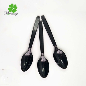 cheap black spoon straw plastic, disposable spoon
