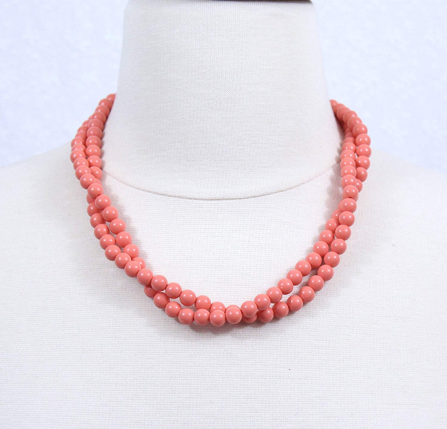 Coral Necklace, Braided Beaded Necklace, Orange Chunky Statement Necklace, Twisted Beads Necklace, Brides Maids Necklaces, Wedding Jewelry
