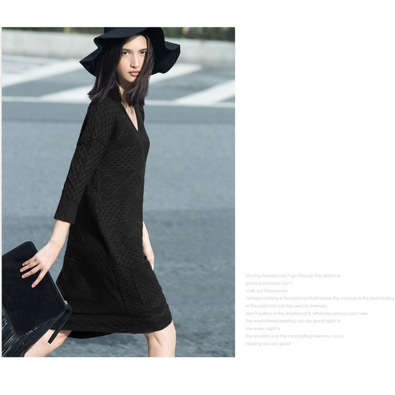 9c6b6f80f51 Get Quotations · 2015 autumn dress woman V collar knitted Hemp flowers  section of large size sweater dress seven