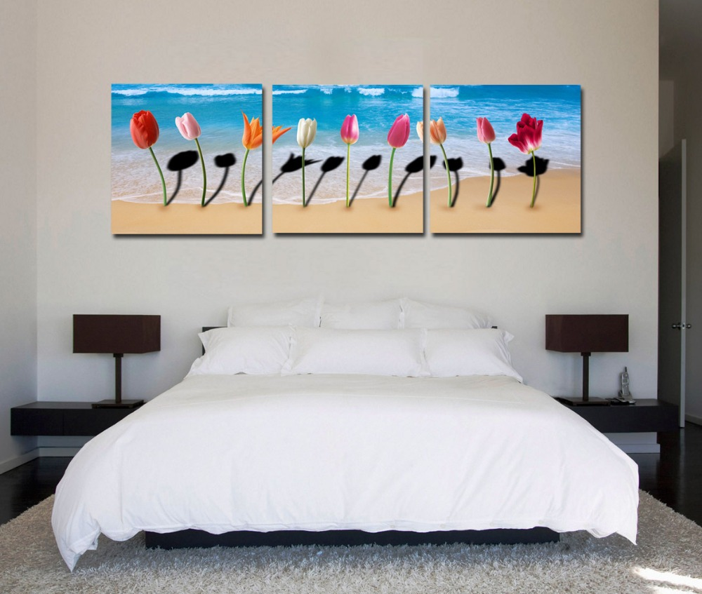 2015 top fashion modern oil painting art pictures prints on canvas 3 pcs flower beach home room wall decoration no frame cy-767