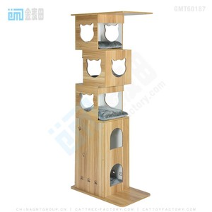 GMT60187 top best selling pet products new design wood cat tree condo white color cat tree house