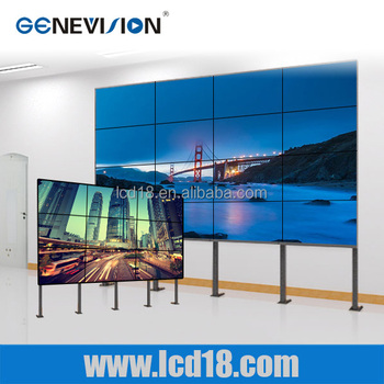 55 inch high brightness seamless video wall narrow bezel free standing lcd video monitor
