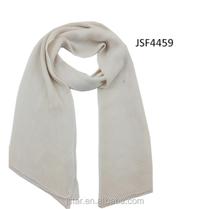 Fashion Ladys Tiny Pleated Cream Solid Scarf