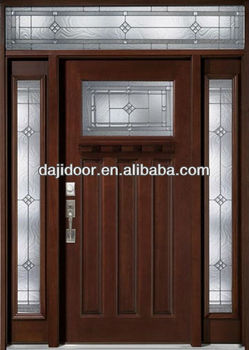Glass Inserts American Style Exterior Wooden Door Designs