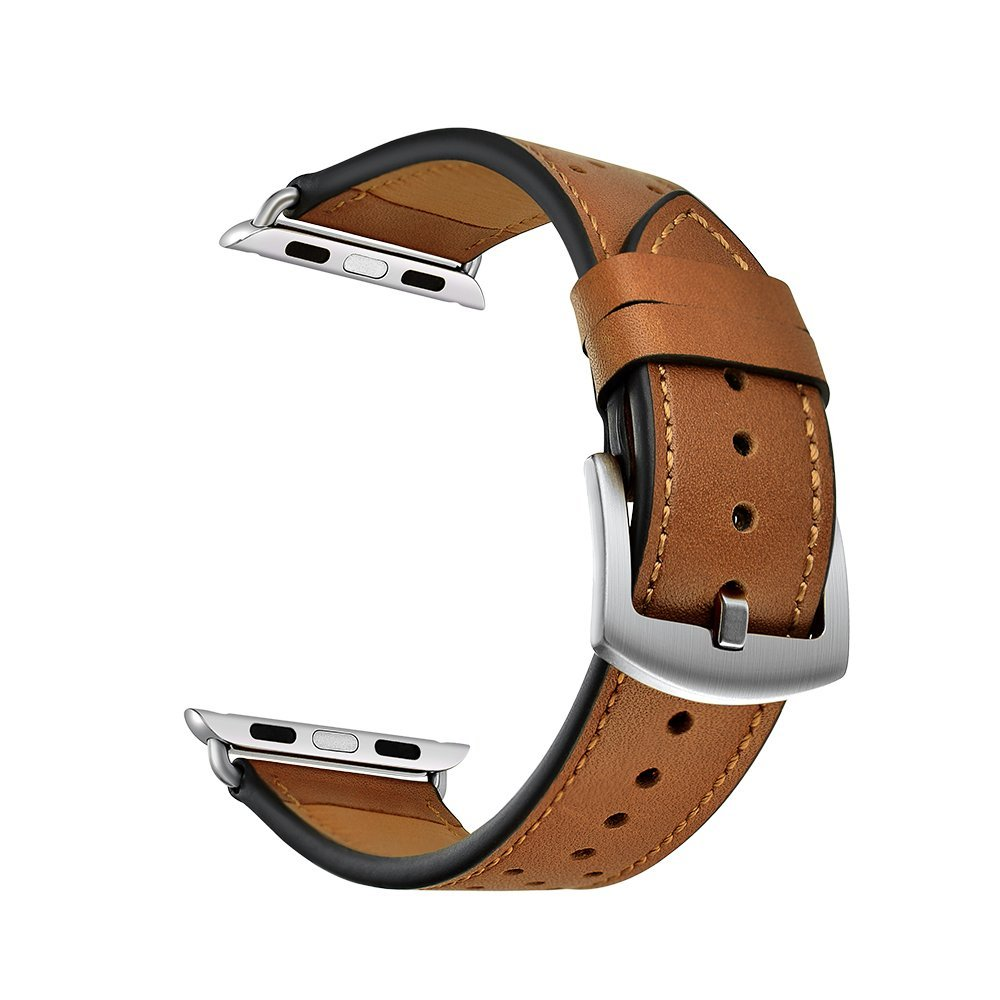 Genuine leather watch replacement band with polka dot for Apple watch, 42mm (Brown with black polka dot)