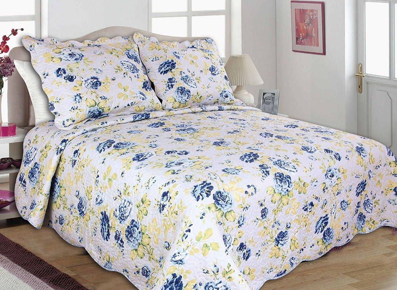 Fanala Fashion Beauty Home 3PC Quilt Set, Bedspread, Coverlet-Reversible-Flowers-4 Sizes