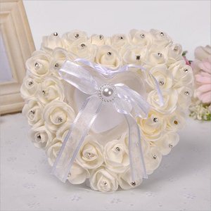 Latest Floral Multi colors Satin Bridal Ring Pillow Box Wedding Supplies Decoration Ceremony Satin Ring Bearer