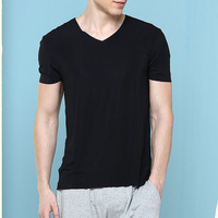 2016 New Fashion Popular Tight Fit 95% Cotton 5% Spandex Plain Blank High Quality V neck Men's Gym Sports T shirts