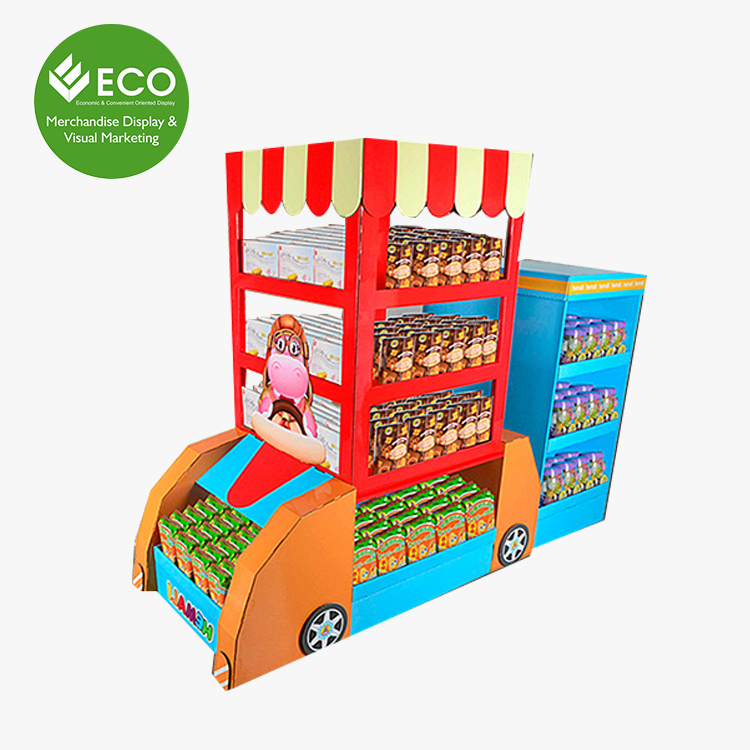 Custom School Bus Shaped Cardboard Display Stand For Food Snacks