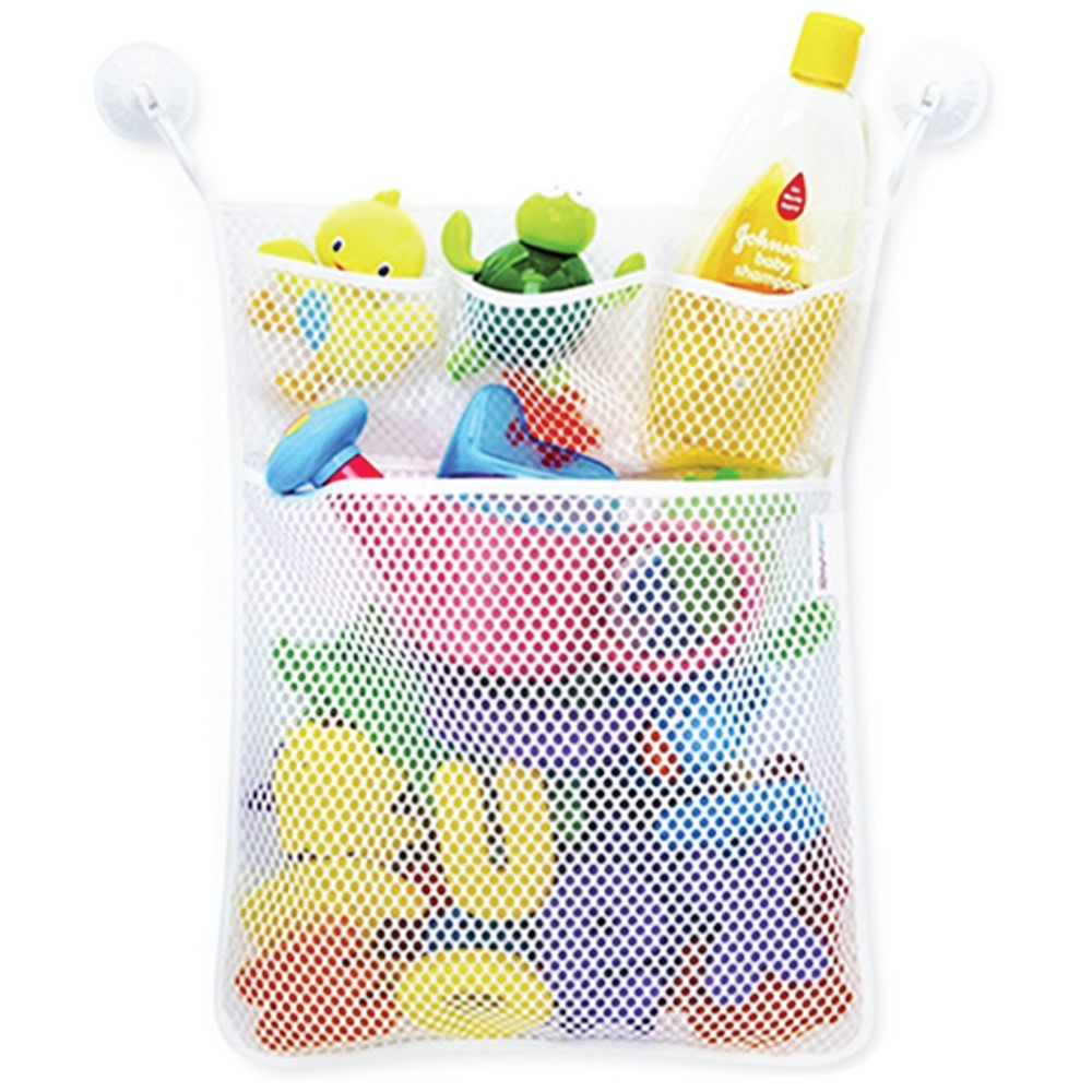 """Eutuxia Bath Toy Organizer. Quick Dry Mesh Net Bag Bathtub Storage with 4 Pockets for Kids Toys and Bathroom Essentials. Includes 4 Lock Tight Suction Hooks. Mold Resistant & BPA Free. [19.76"""" x 14""""]"""