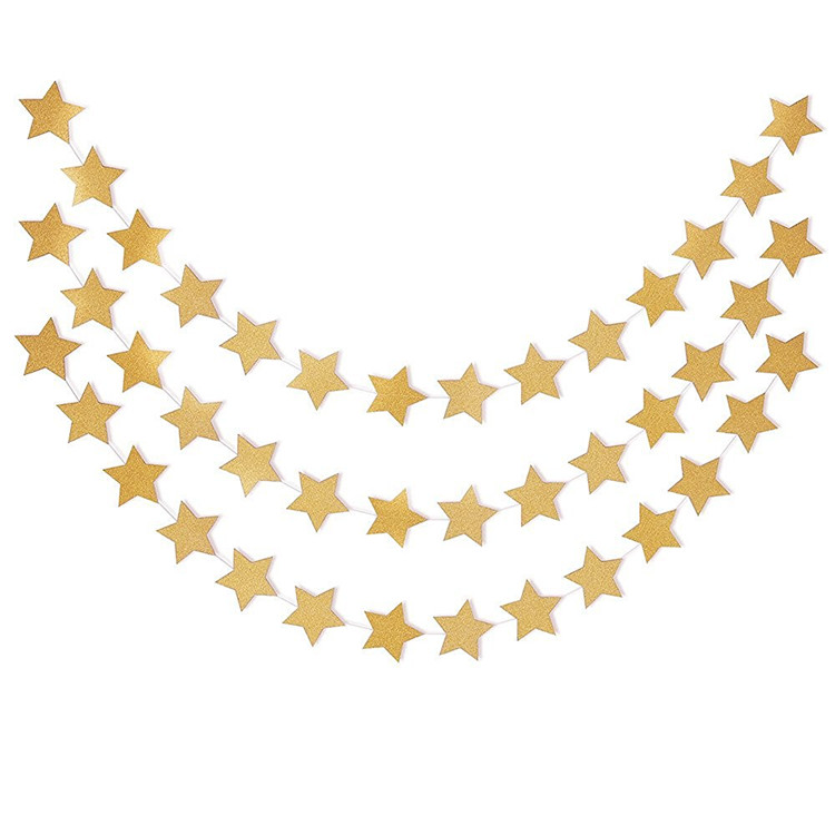 Gold Pastel Perfection Sparkling Star Garland Bunting for Weddings or Parties Stars Garland Decorations Table Wall Ceiling
