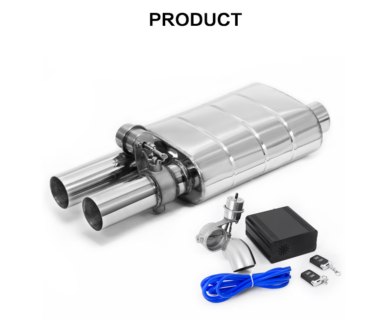 High performance muffler 201/304 stainless steel 3 inch car exhaust muffler with valve