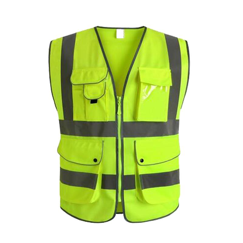 Hi Viz Unisex Night Waistcoat Zip Up High Visibility Safety Vest-Reflective Vis