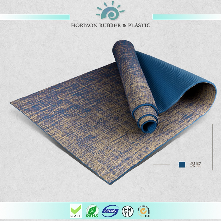 Premium Eco jute yoga mat,Free of Harmful Substances, Dual Sided, slightly scratchy linen texture hemp yoga mat