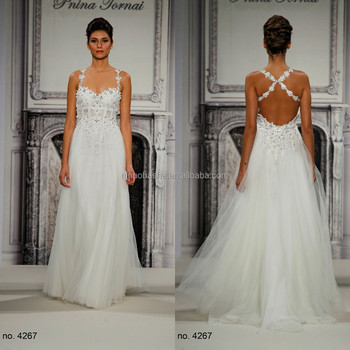 Empire Wedding Dress 2015 Spaghetti Straps Sweetheart Neckline Criss ...