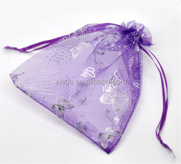 High Quality Dark purple Butterfly Organza Wedding Gift Bags&Pouches
