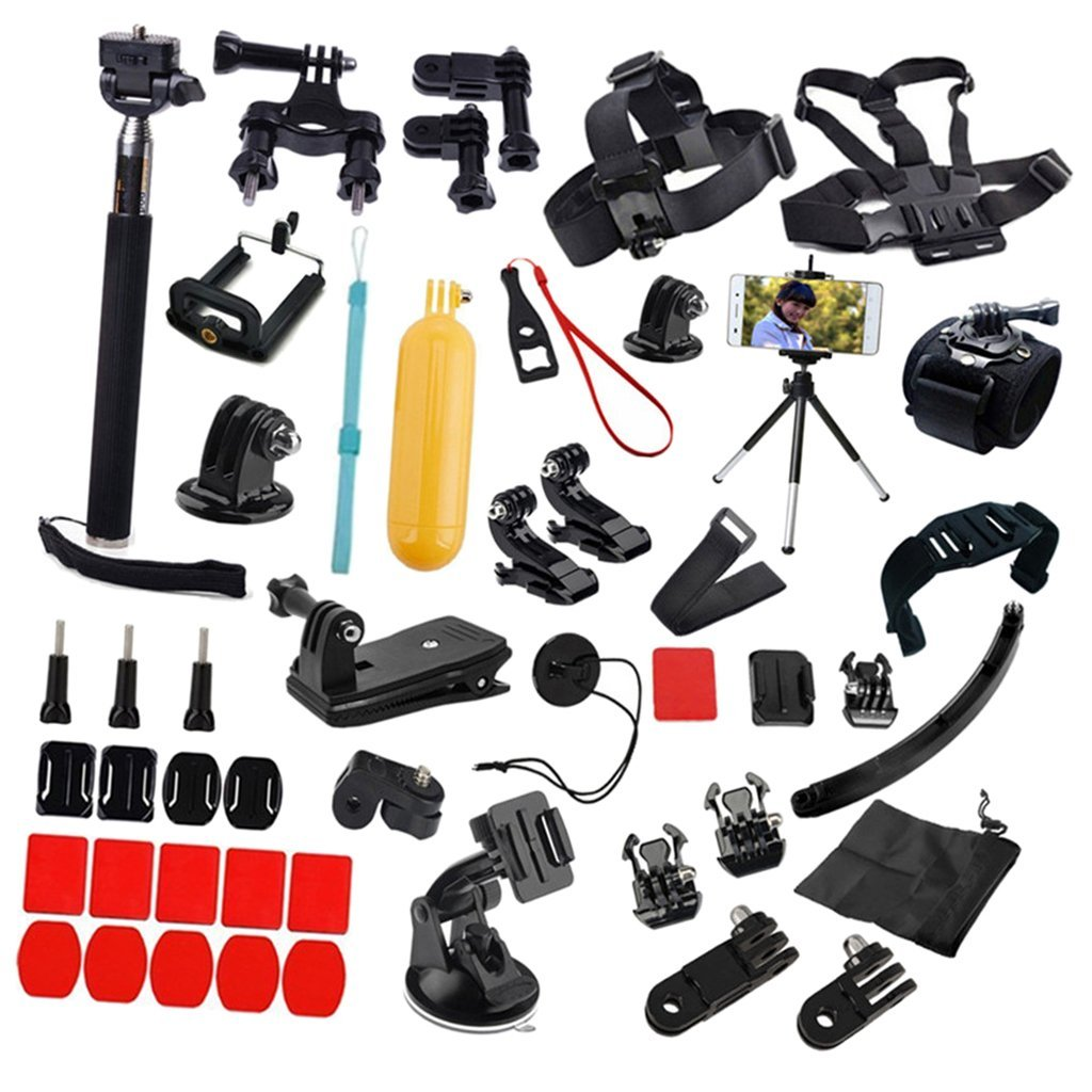 MagiDeal Acessories Kit Set 50 in 1 Bundle Complete Features with Helmet Set Strap Mount Adhesive Base for GoPro Hero 6 5 4 3+ 3
