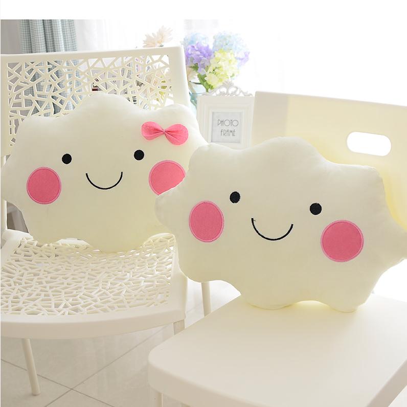 35cm Kawaii Soft Smiley Face Bow Cloud Pillow Cotton