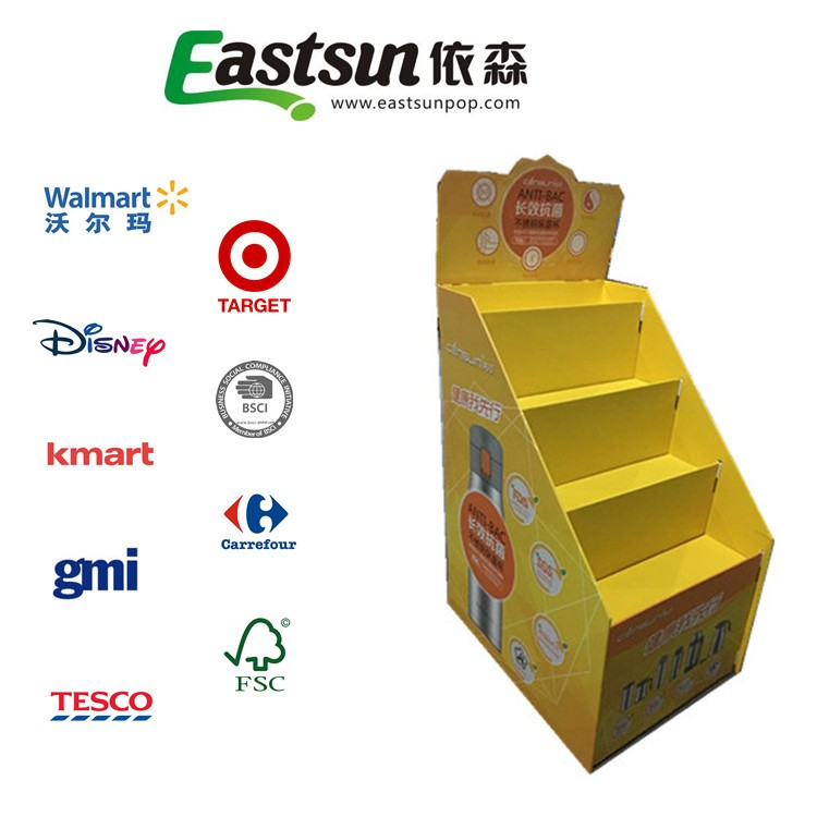 Color Printing Cardboard bottle retail Display Rack