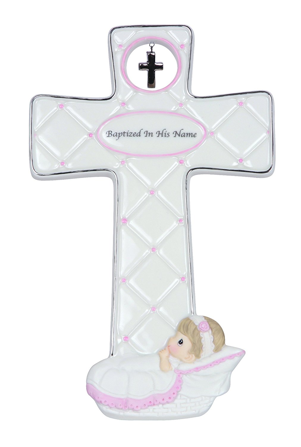 """Precious Moments, Baptism Gifts, """"Baptized In His Name"""", Bisque Porcelain Cross, Girl, #143402"""