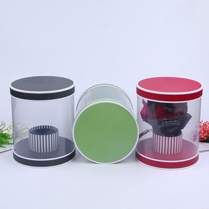 Creative Clear PET/PVC Plastic Decorative Black Round Flower Box With Lid