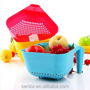 Fruits And Vegetables Plastic Drain Baskets Whit Handle,draining Basket  Used In Sink,round