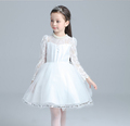 100 150cm Sleeveless Tutu Beading Dresses Performance Children Big Girls Lace Wedding Dressy Bowknot Dress Kids