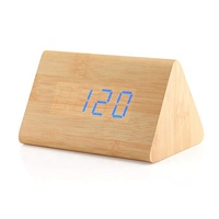 Modern Triangle Digital LED Wooden Alarm Clocks Desk Classical Timer Calendar Bamboo