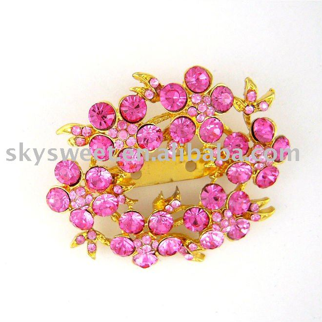 Rose Crystal Flower Cluster jewelry Brooch (SWTB741)