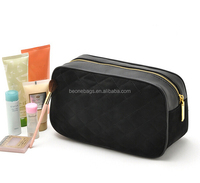 Luxury Quilted Velvet Fabric Cosmetic Bags Wholesale with Metal Zipper