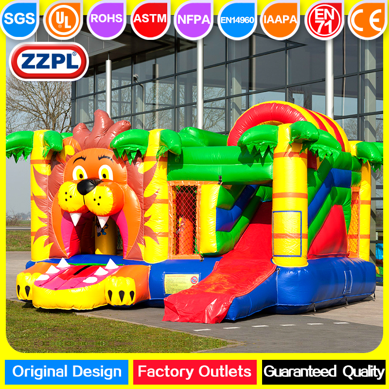 ZZPL Lion Inflatable Bounce House with Slide for kids, Big Inflatable Jumper for sale