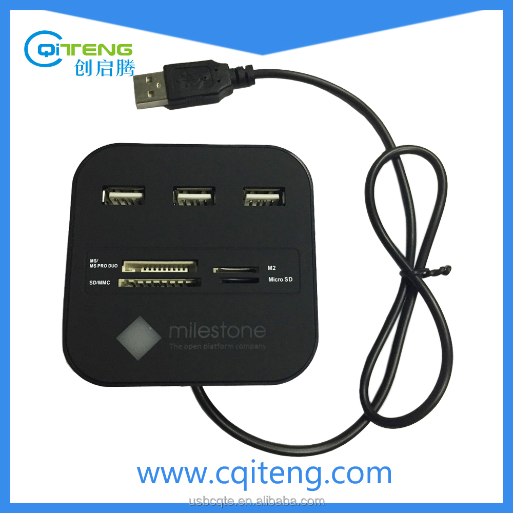 USB 2.0 Combo All-in-1 smard Card Reader with USB HUB 3 Port