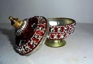 Artcollectibles India Small Decorative Trinket Box Sindoor Tika Hindu Puja Home Decor Roli Mouli India