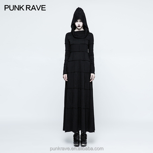 Q-327 PUNK RAVE Extreme Straight Split Big Hat Women long Dress