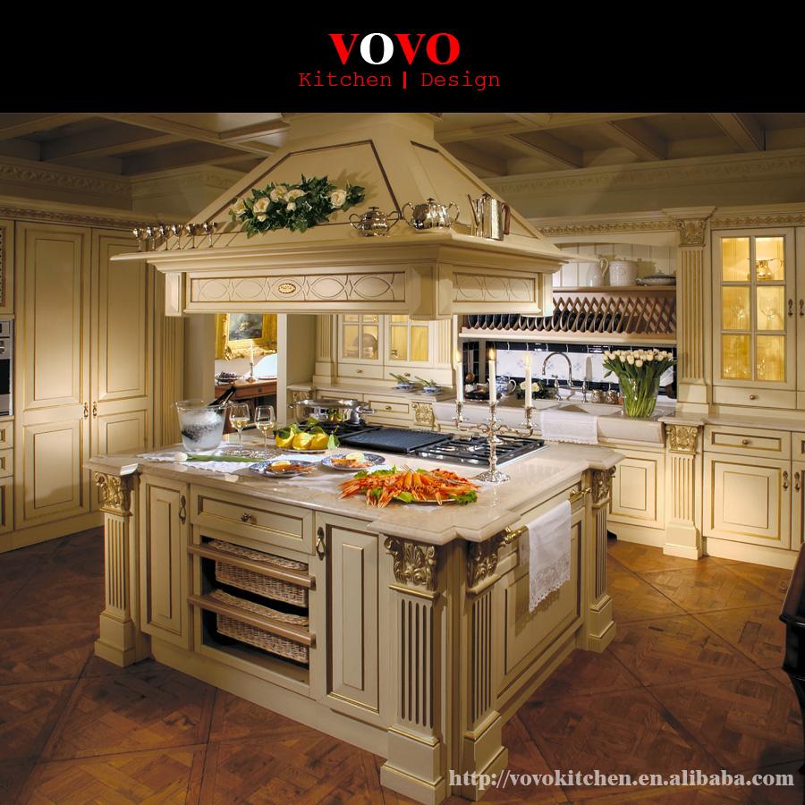 Custom Luxury Kitchen Island With Gold Foil Roman Column Buy