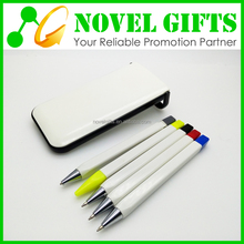 Promotion Cheap 5-piece Ball Pen Highlighter and Pencil Pens Set