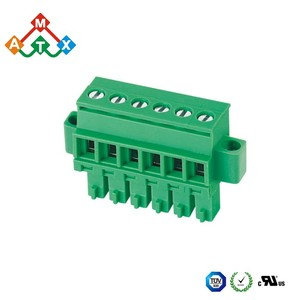 3.81mm connectors 2-24pole components terminal block female type with flange fix on PCB panel