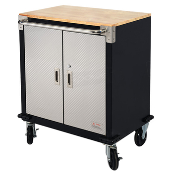 28 Inch Workbench Components Wooden Counter Top Double Door Tool Storage  Trolley Cabinet With 4 Wheels