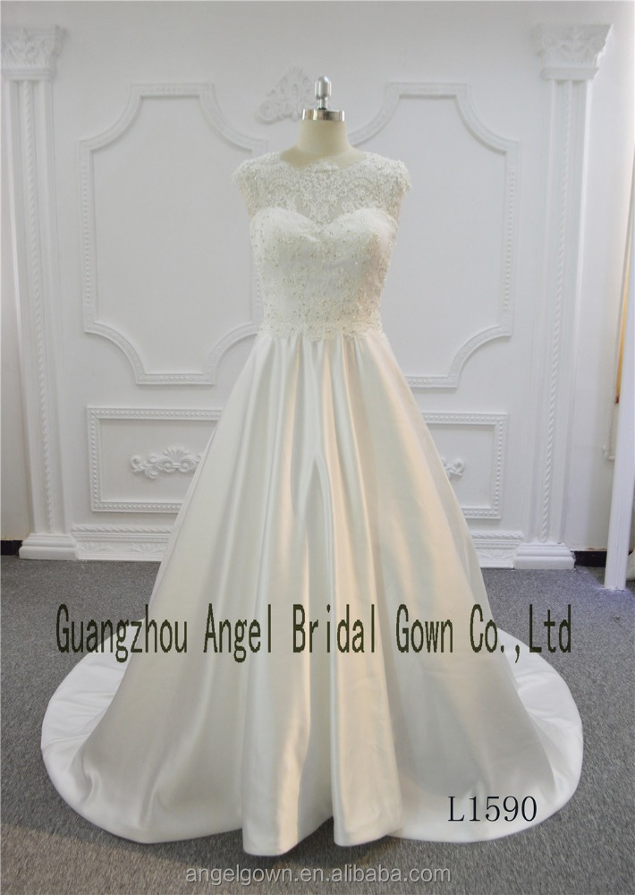 Sleeveless Crystal Appliques Lace Satin A Line Train Bridal Wedding Dress