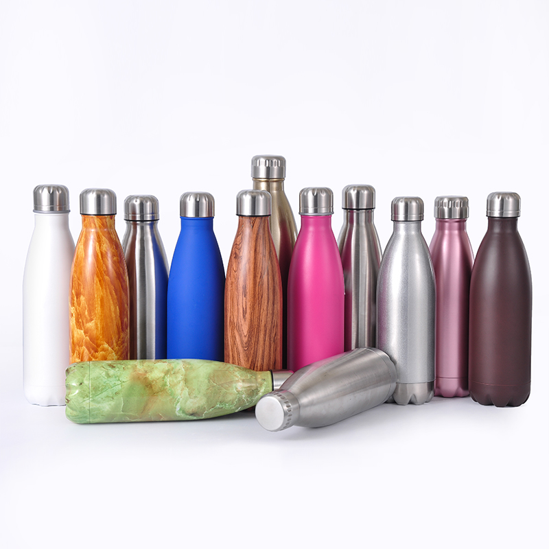 2019 Hot 500ml Cola shape water bottle double wall insulated vacuum stainless steel sport water bottle flask