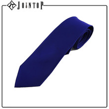 100% fashion silk concrete form flat royal blue tie for girl