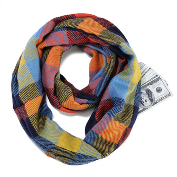 Wholesale Portable Foldable Wrap Cashmere Infinity Color Plaid Scarf With Zipper Pocket Custom Loop Infinity Scarf Women