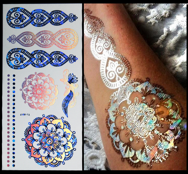 d08dc61e2 New Fashion 1pcs Indian Style Blue gold colorful Tattoos Inspired Designs Temporary  Flash Tattoo Stickers Body