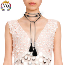 NYQ-00072 2016 cheap wholesale Korean fashion trendy sexy tassel velvet black leather chokers necklace for ladies and women